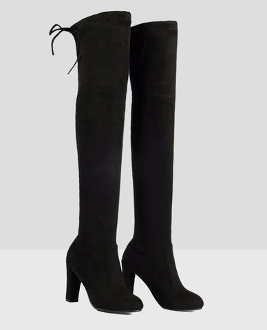 Linder Over The Knee Block Heel Boot in Black