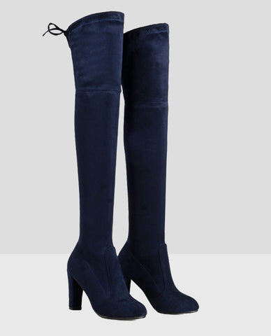 Linder Over The Knee Block Heel Boot in Blue