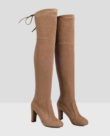 Linder Over The Knee Block Heel Boot in Brown