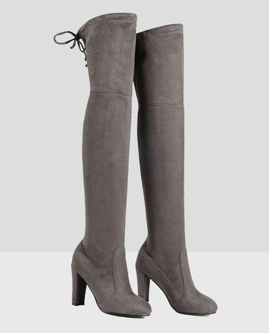 Linder Over The Knee Block Heel Boot in Dark Grey