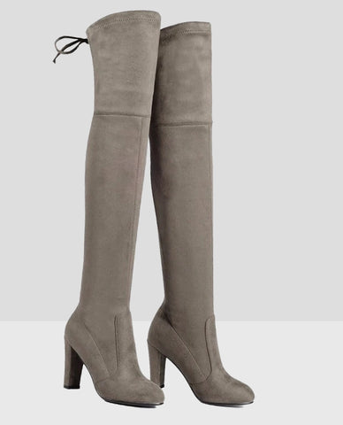 Linder Over The Knee Block Heel Boot in Khaki