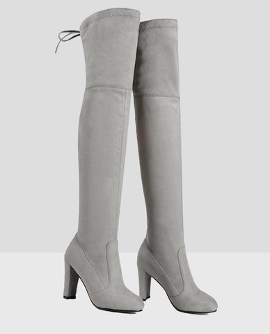 Linder Over The Knee Block Heel Boot in Light Grey