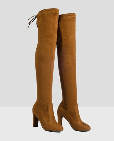 Linder Over The Knee Block Heel Boot in Orange