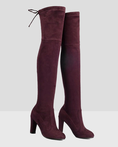 Linder Over The Knee Block Heel Boot in Red
