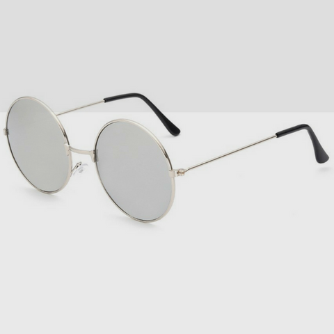 Metal 90s Round Sunglasses With Grey Colored Lens & Silver Frame