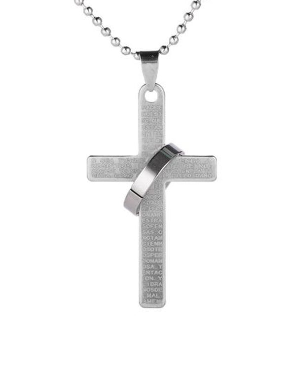 Ring Cross Pendant Necklace in Blue