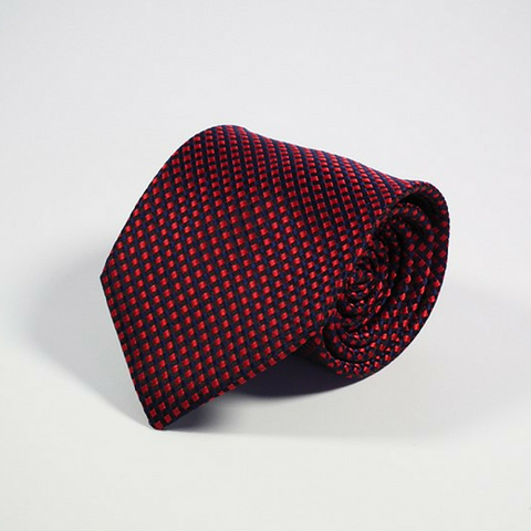 Men's Tie Dotted Black and Red