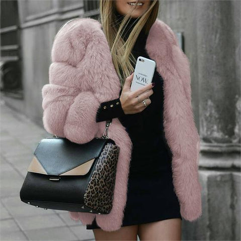 LINDER Warm & Cute Women's Fur Coat in Pink