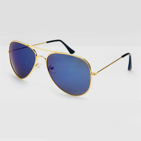 Polarised Aviator Sunglasses in Blue Gold