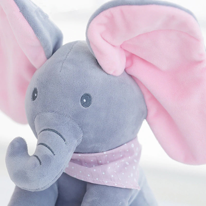 Peek a Boo Elephant Plush Toy - Dark Grey