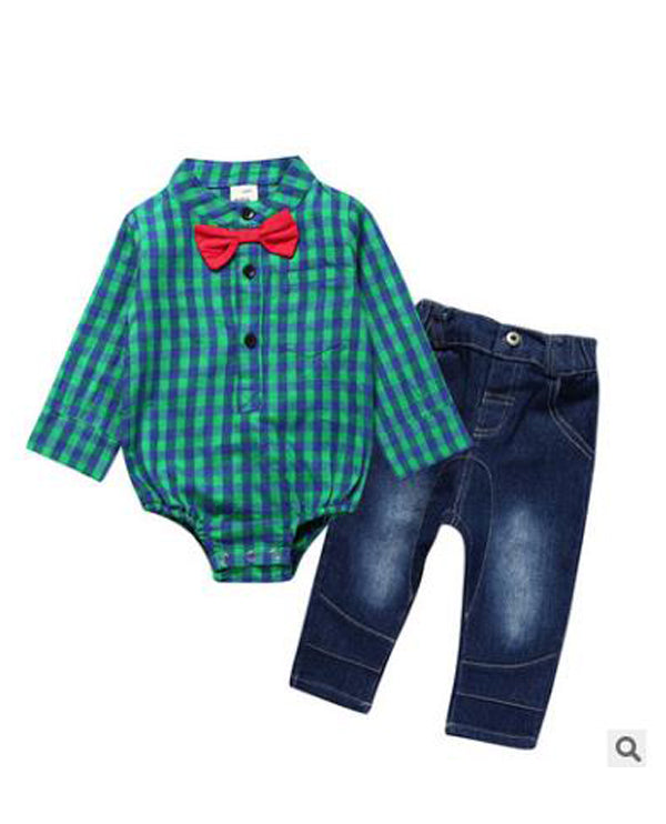 Linder Baby Boy Newborn Rompers and Jeans Green