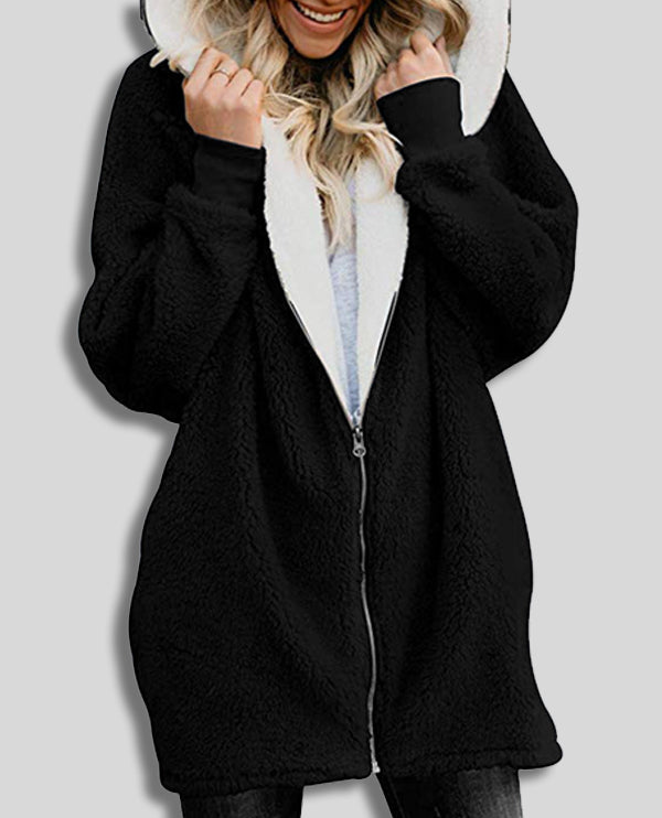 Linder Oversized Hoodie Cardigan with Zip Front in Grey