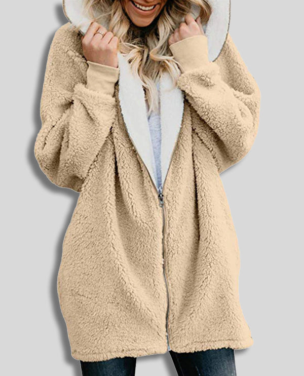 Linder Oversized Hoodie Cardigan with Zip Front in Khaki