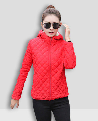Linder Puffer Hoodie Jacket in Red