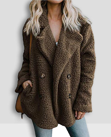Linder Teddy Oversized Coat in Brown