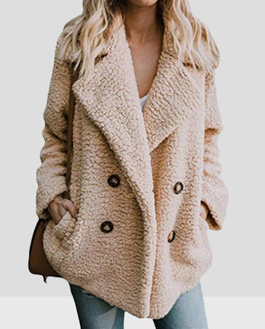 Linder Teddy Oversized Coat in Khaki