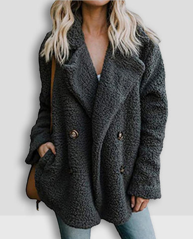 Linder Teddy Oversized Coat in Dark Grey