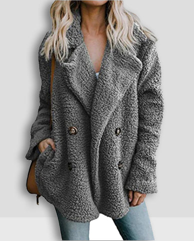 Linder Teddy Oversized Coat in Light Grey