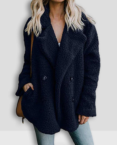 Linder Teddy Oversized Coat in Blue