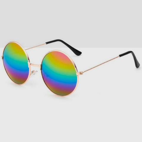 Metal 90s Round Sunglasses With Multi Colored Lens & Gold Frame