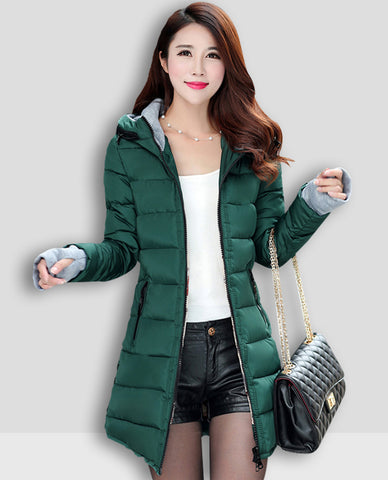 Linder Longline Padded Jacket in Green
