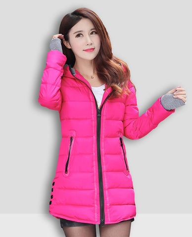 Linder Longline Padded Jacket in Pink