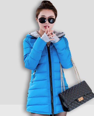 Linder Longline Padded Jacket in Blue