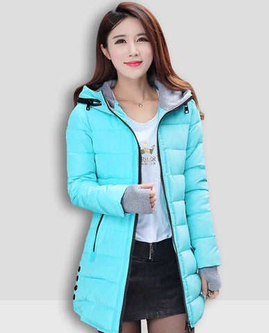 Linder Longline Padded Jacket in Light Blue