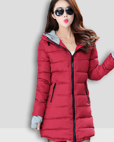 Linder Longline Padded Jacket in Maroon