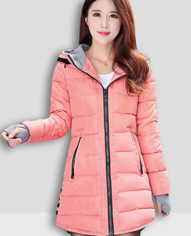 Linder Longline Padded Jacket in Peach