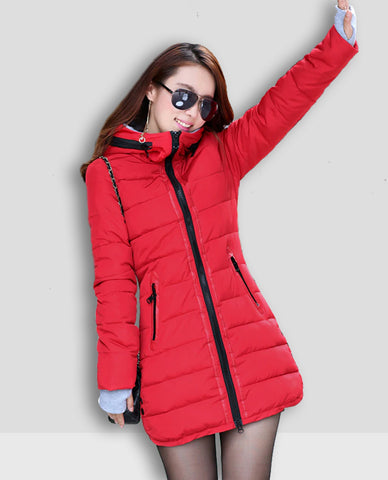 Linder Longline Padded Jacket in  Red