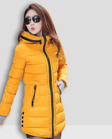 Linder Longline Padded Jacket in Yellow