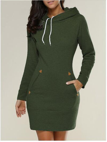LINDER - HOODED SWEATER DRESS WITH POCKETS