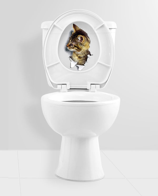 3D Cat Toilet And Bathroom PVC Sticker - STYLE B