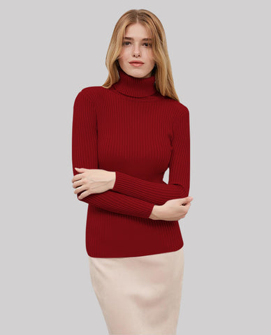 Linder Turtleneck Sweater in Red