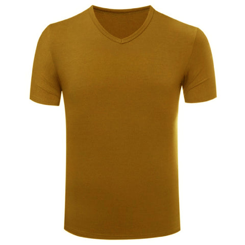 Men's Cotton V-Neck T-shirt Brown