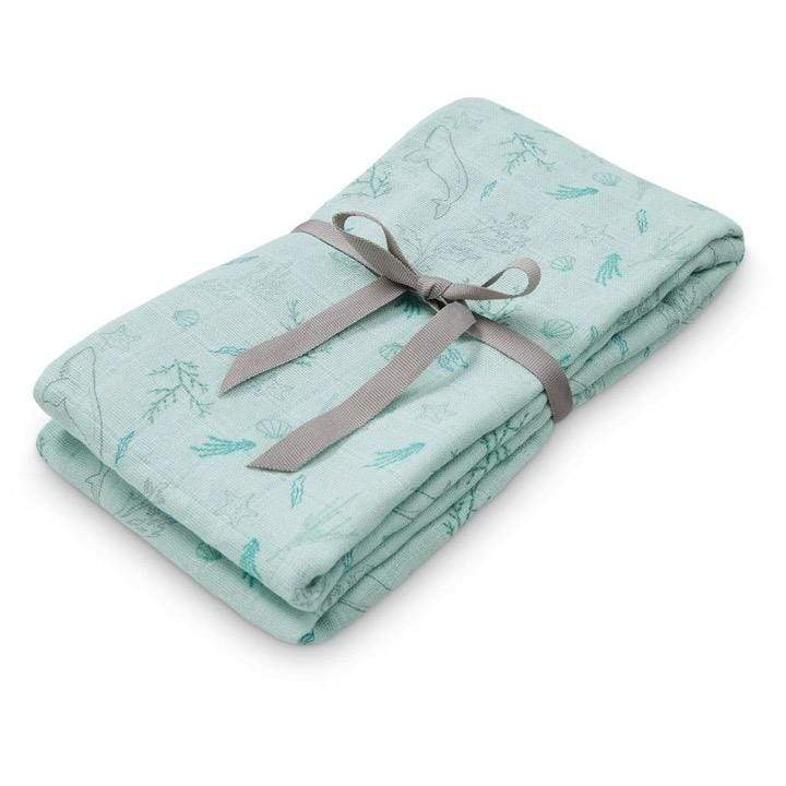 CAM CAM LP Accessories Organic Printed Light Swaddle, Ocean