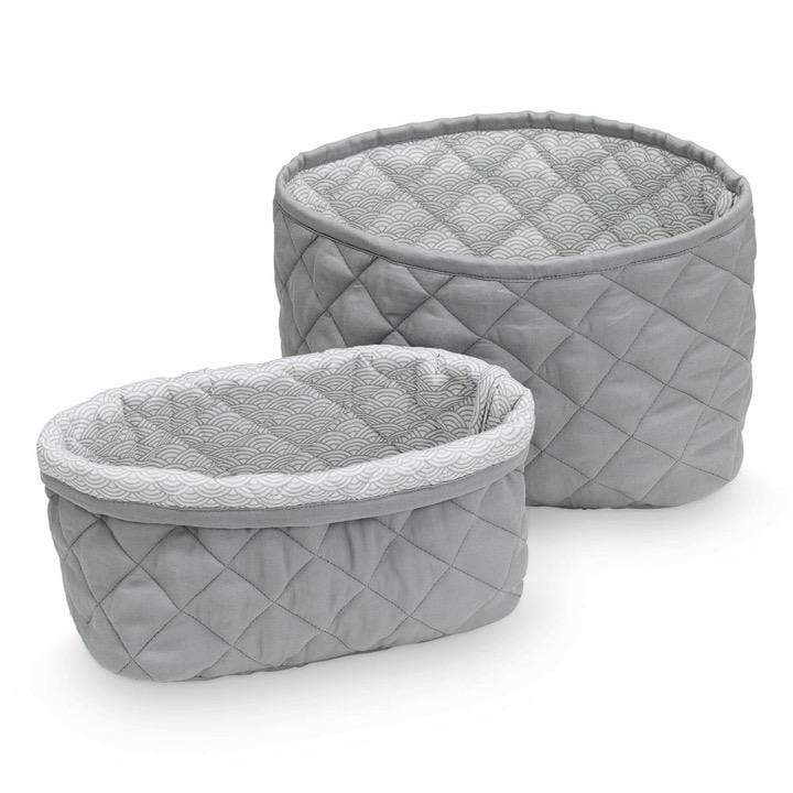 CAM CAM Storage Quilted Storage Basket, Grey (Set of 2)