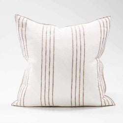Eadie Cushions Rock Pool Linen Cushion - White/Natural Stripe