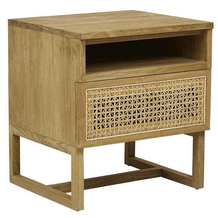Globe West Tables Teak Willow Woven Bedside