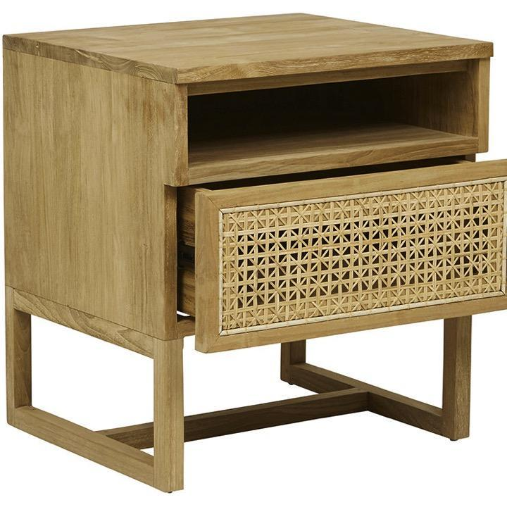 Globe West Tables Willow Woven Bedside