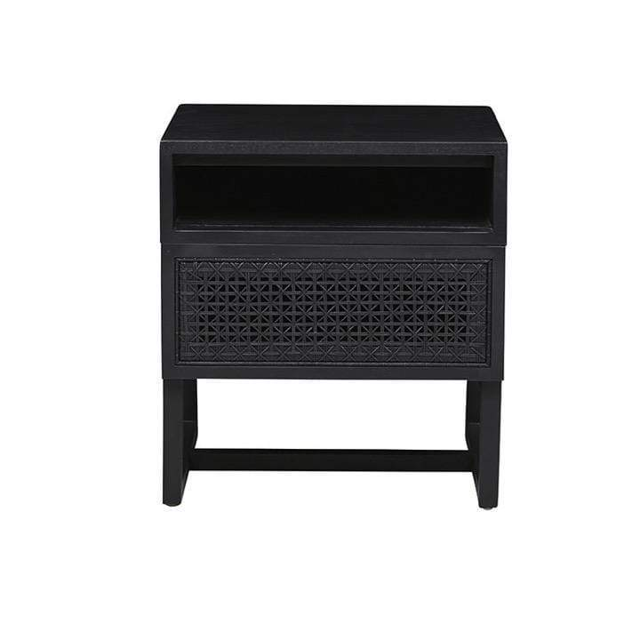 Globewest Bedroom Ebony Willow Woven Bedside
