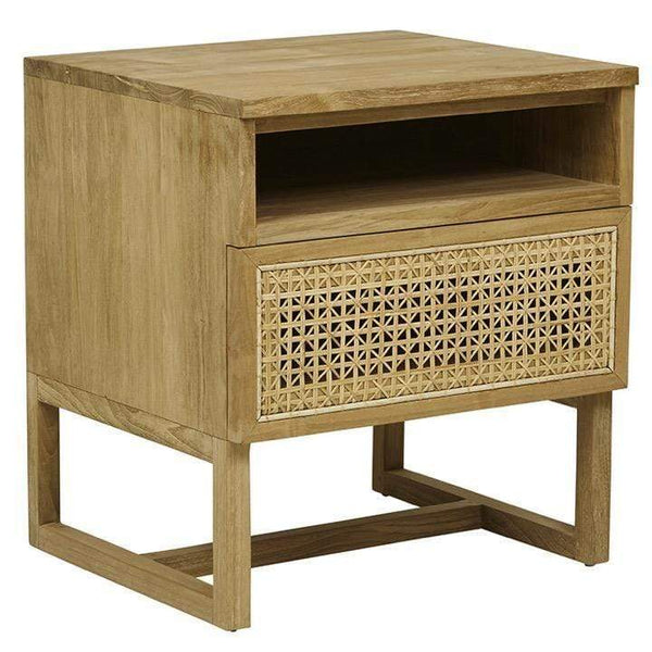 Globewest Bedroom Teak Willow Woven Bedside