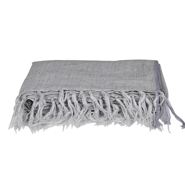 Globewest Throws Evie Linen Throw, Grey