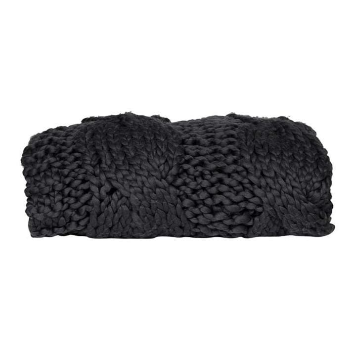 Globewest Throws Iggy Cable Knit Throw, Charcoal