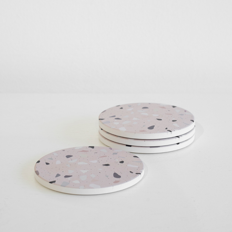 Granite Lane Baskets + Trays Terrazzo Coaster, Pink