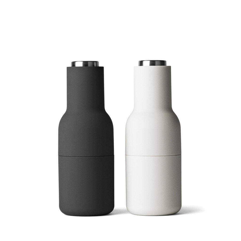 Menu Kitchen Essentials Salt & Pepper Bottle Grinders - Ash/Carbon (Steel top)