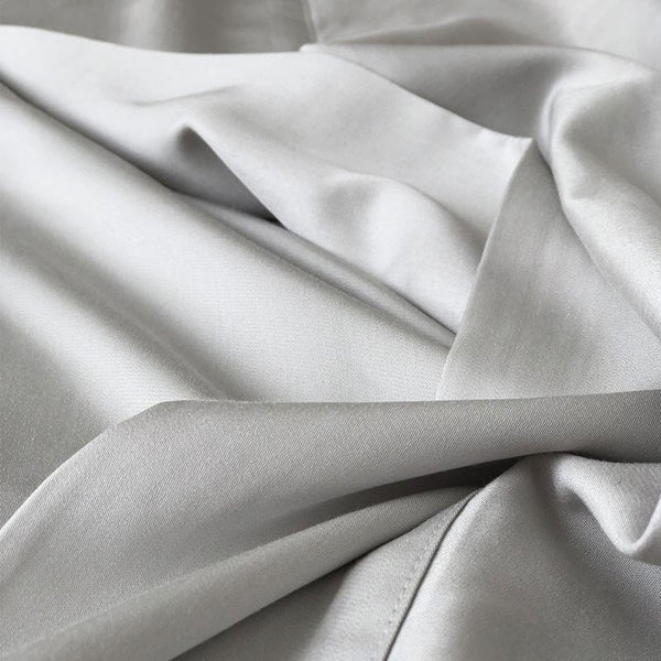 Mulberry Threads Co. Bed Linen + Towels 100% Organic Fitted Sheet & Pillowslips, Silver