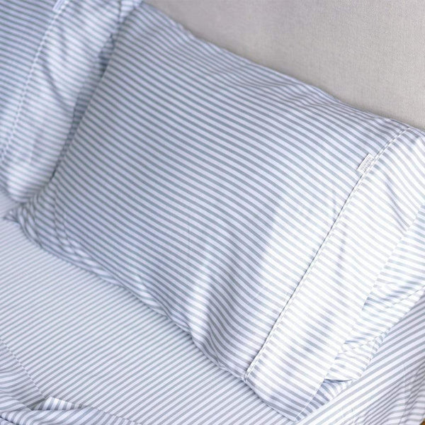 Mulberry Threads Co. Bed Linen + Towels Organic Bamboo Pillowslip, Fog Stripe