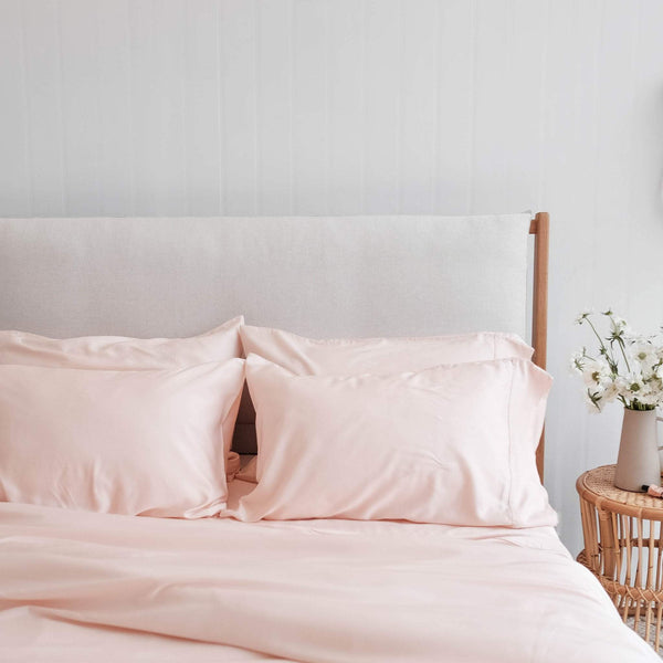 Mulberry Threads Co. Bed Linen + Towels Organic Bamboo Quilt Cover, Blush